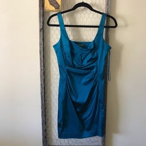 Lauren Ralph Lauren Teal Ruched Front Mini Dress